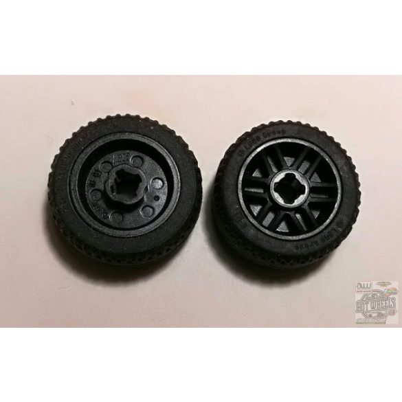 Lego Wheel 14mm D. x 9.9mm with Center Groove, Fake Bolts and 6 Spokes with Black Tire 21 X 9.9 (11208 / 11209), Black