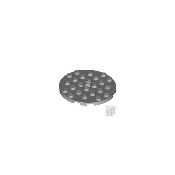 Lego Plate 6X6 Round With Tube Snap, Light grey
