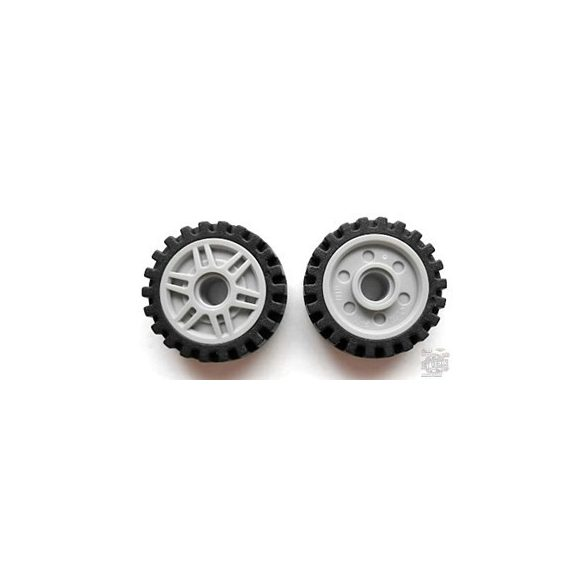 Lego Wheel 18mm D. x 8mm with Fake Bolts and Deep Spokes with Inner Ring with Black Tire Offset Tread - Band Around Center of Tread (13971 / 61254)