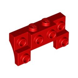 Lego BRICK 1X4X1 2/3 W. V. KNOBS, Bright red