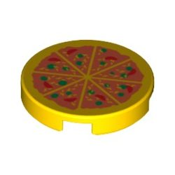 Lego Flat Tile 2X2 Round with Bottom Stud Holder with Pizza Pattern, Bright Yellow