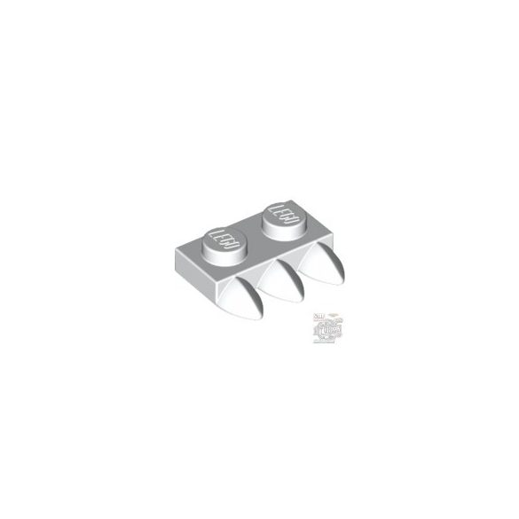 Lego Plate 1X2 With 3 Teeth, White