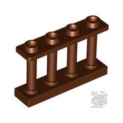 Lego FENCE 1X4X2 W. 4 KNOBS, Reddish brown