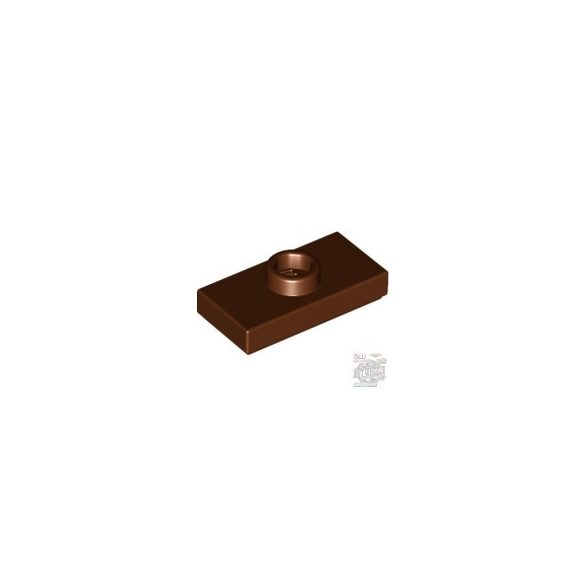 Lego PLATE 1X2 W. 1 KNOB, Reddish brown