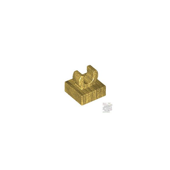 Lego PLATE 1X1 W. UP RIGHT HOLDER, Gold