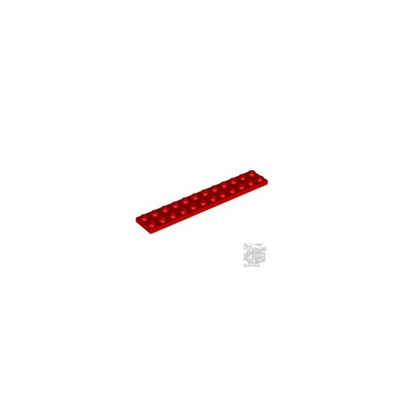Lego Plate 2X12, Bright red