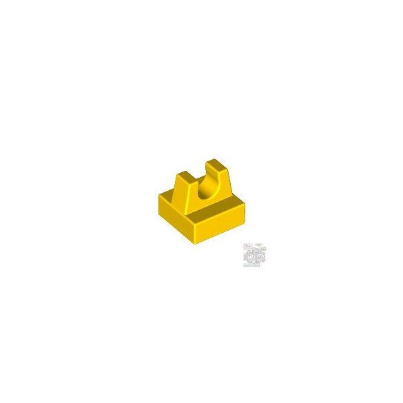 Lego PLATE 1X1 W. UP RIGHT HOLDER, Bright yellow