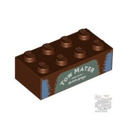 Lego Brick 2X4 with 'TOW MATER' on Sand Green Background Pattern, Reddish brown