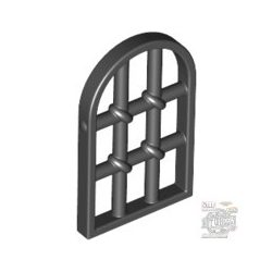 Lego CAVITY W. IRON LATTICE, Pane for Window 1 x 2 x 2 2/3 Twisted Bar with Rounded Top, Black