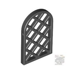 Lego CAVITY W. LEADS, Pane for Window 1 x 2 x 2 2/3 Lattice Diamond with Rounded Top, Black