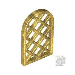 Lego CAVITY W. LEADS, Pane for Window 1 x 2 x 2 2/3 Lattice Diamond with Rounded Top, Gold