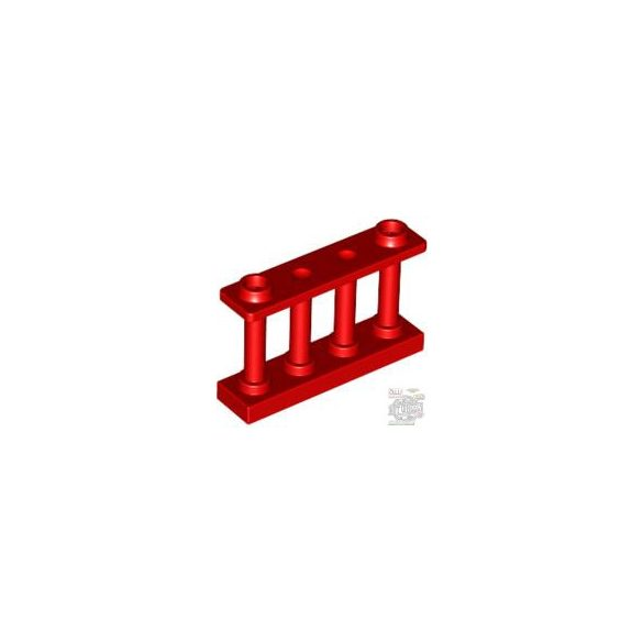 Lego FENCE 1X4X2 W. 2 KNOBS, Bright red
