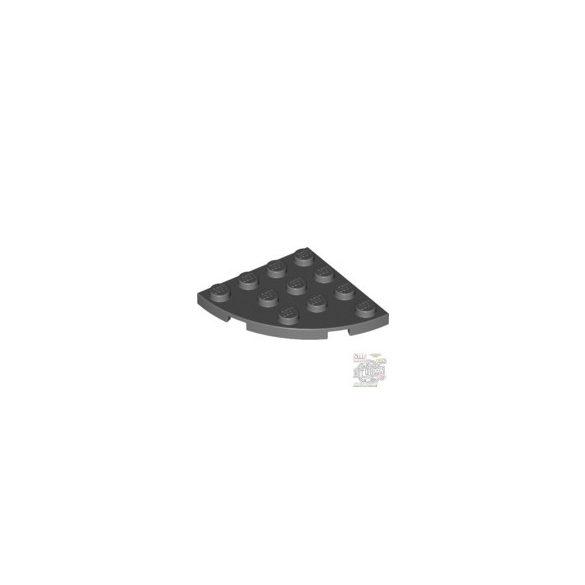 Lego Plate 4X4, 1/4 Circle, Dark grey