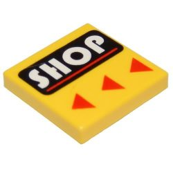Lego Flat Tile 2X2 with Groove with 'SHOP' Pattern, Bright Yellow