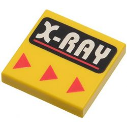 Lego Flat Tile 2X2 with Groove with 'X-RAY' Pattern, Bright Yellow