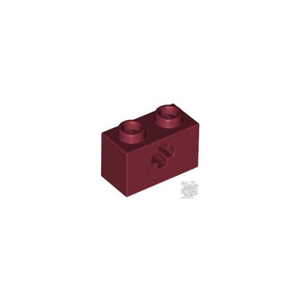 Lego BRICK 1X2 WITH CROSS HOLE, Dark red
