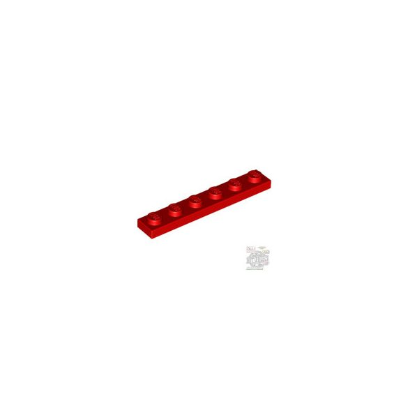 Lego PLATE 1X6, Bright red