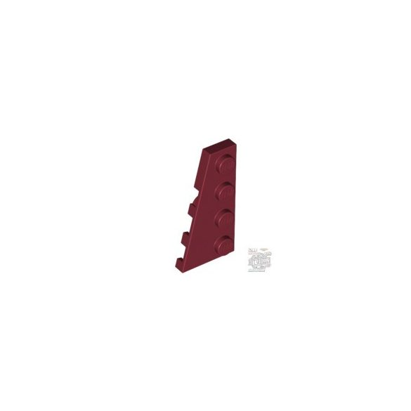 Lego LEFT PLATE 2X4 W/ANGLE, Dark red