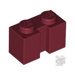 Lego BRICK 1X2 W. GROOVE, Dark red