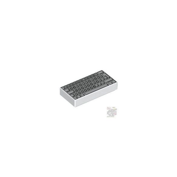 Lego FLAT TILE 1X2, KEYBOARD, White