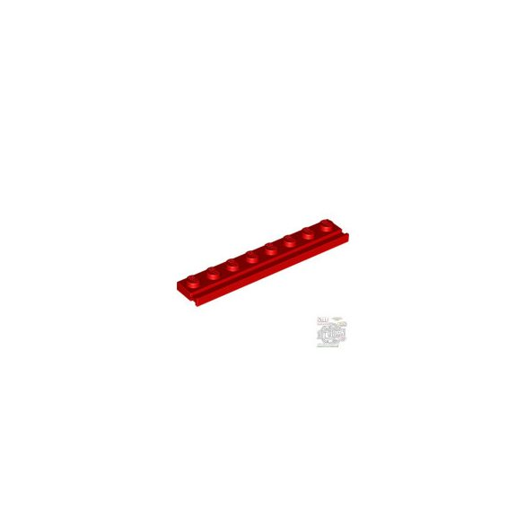 Lego PLATE 1X8 WITH RAIL, Bright red