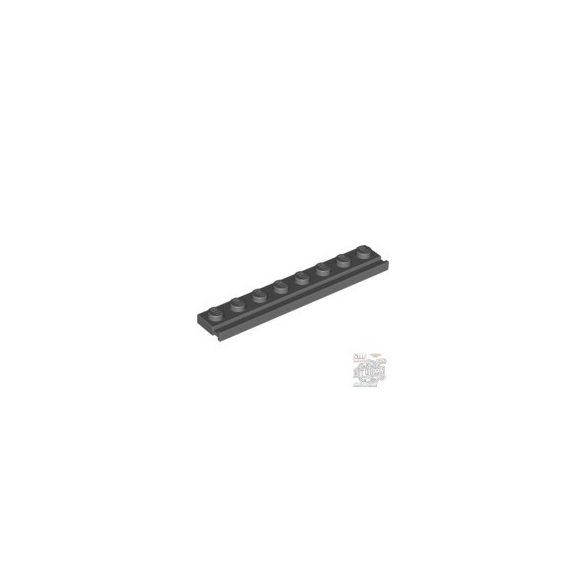 Lego Plate 1X8 With Rail, Dark grey