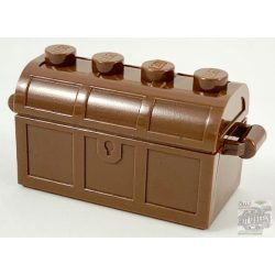 Lego Container, Treasure Chest Bottom - Slots in Back with Same Color Container, Treasure Chest Lid - Thick Hinge, Reddish brown