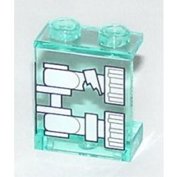 Lego Panel 1 x 2 x 2 - Hollow Studs with White Minifigure Skeleton Legs with Broken Knee X-Ray Pattern