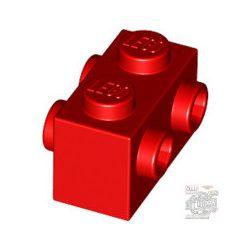 Lego BRICK 1X2 W. FOUR KNOBS, Bright red