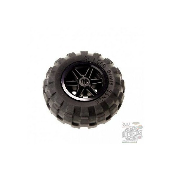 Lego Wheel 30.4mm D. x 20mm with No Pin Holes and Reinforced Rim with Black Tire 56 x 26 Balloon (56145 / 55976)
