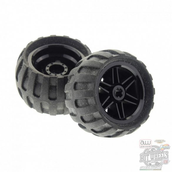 Lego Wheel 30.4mm D. x 20mm with No Pin Holes and Reinforced Rim with Black Tire 43.2mm D. x 26mm Balloon Small (56145 / 61481)