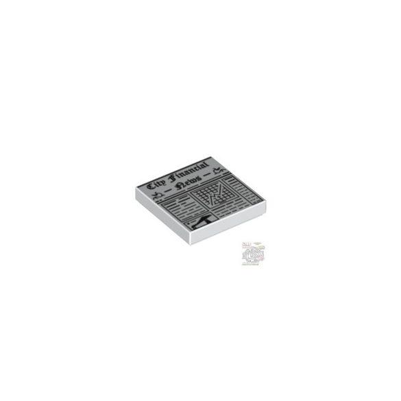 Lego FLAT TILE 2x2 'NO. 6', White
