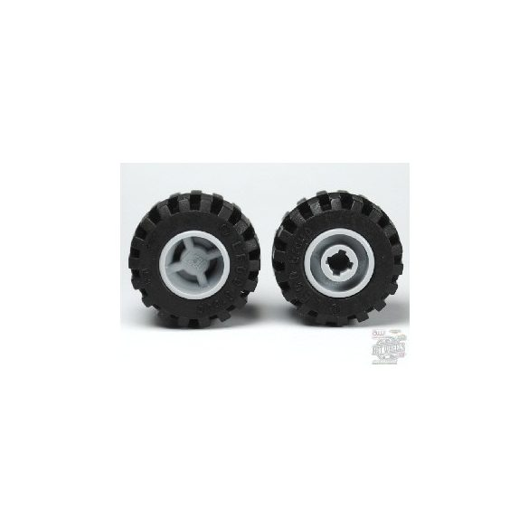 Lego Wheel 11mm D. x 12mm, Hole Notched for Wheels Holder Pin with Black Tire Offset Tread Small Wide, Band Around Center of Tread (6014b / 87697), Light grey