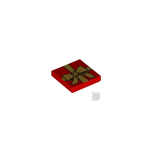 Lego FLAT TILE 2X2 'NO. 9', Bright red
