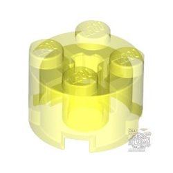 Lego Brick Ø16 W. Cross, Transparent fluorescent green