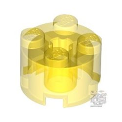 Lego Brick Ø16 W. Cross, Transparent yellow