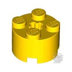 Lego Brick Ø16 W. Cross, Bright yellow