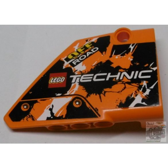 Lego alkatrész Technic, Panel Fairing #14 Large Short Smooth, Side B with LEGO TECHNIC Logo, 'OFF ROAD' and Black, Orange and White Pattern (Sticker) - Set 42007