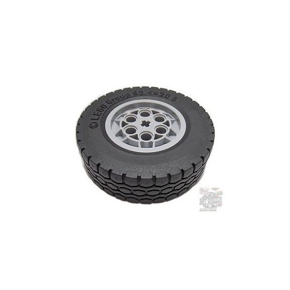 Lego Technic Light Bluish Gray Wheel 62.4 x 20 with Short Axle Hub, with Black Tire 62.4 x 20 (86652 / 32019)