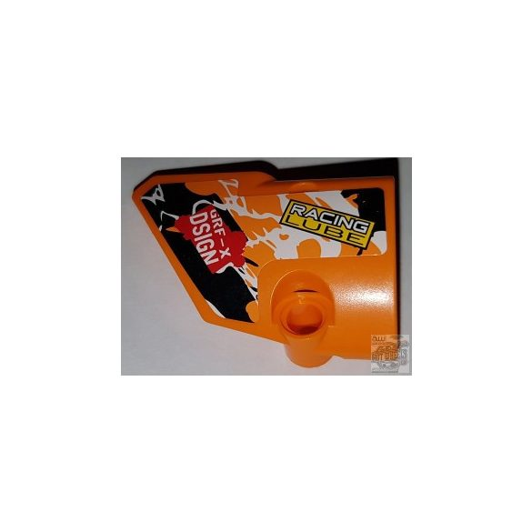 Lego alkatrész Technic, Panel Fairing # 1 Small Smooth Short, Side A with 'RACING LUBE' and 'GRF-X DSIGN' and Black, Orange and White Pattern (Sticker) - Set 42007