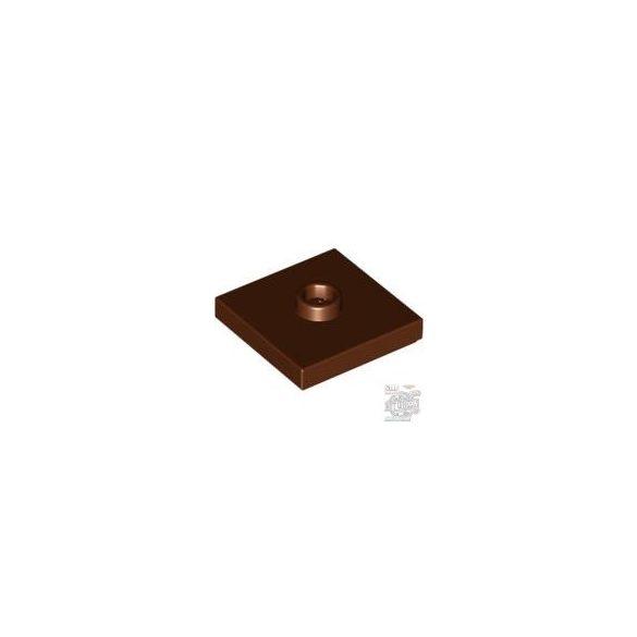 Lego PLATE 2X2 W. 1 KNOB, Reddish brown