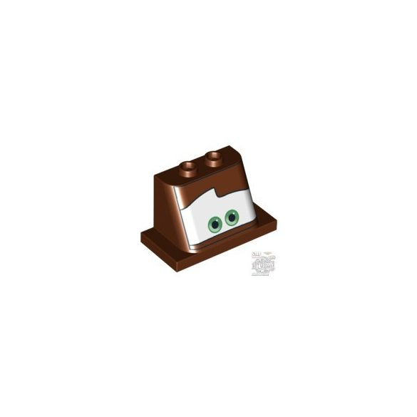 Lego FRONT 2X4X3 W.2 KNOBS 'NO.1', Reddish brown
