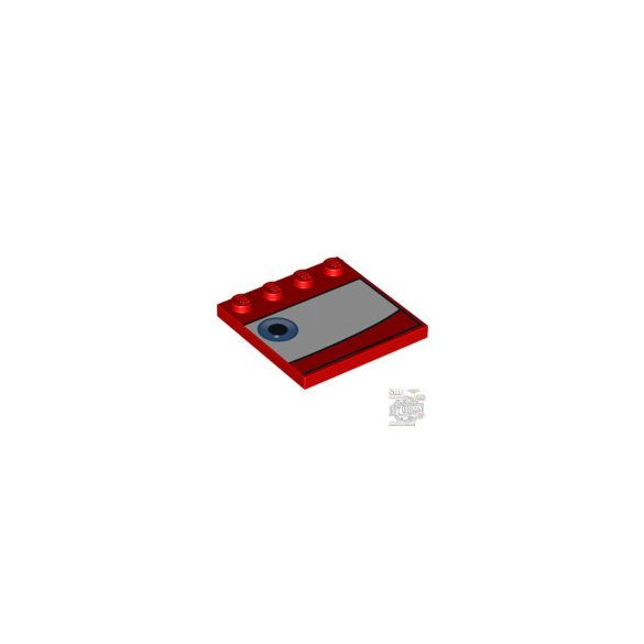 Lego PLATE 4X4 W.4 KNOBS 'LEFT NO6', Bright red