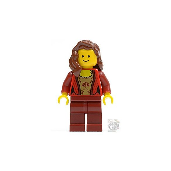 Lego figura Town - Female Corset with Gold Panel Front and Lace Up Back Pattern, Dark Red Legs, Reddish Brown Female Hair over Shoulder