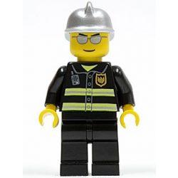 Lego figura City - Fire - Reflective Stripes, Black Legs, Silver Fire Helmet, Silver Sunglasses