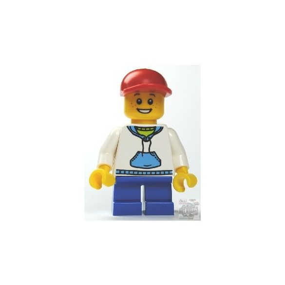 Lego figura City - White Hoodie with Blue Pockets, Blue Short Legs, Red Short Bill Cap