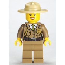 Lego figura City Forest Police - Dark Tan Jacket with Pockets, Gold Badge and Braid, Olive Green Tie, Dark Tan Legs, Campaign Hat