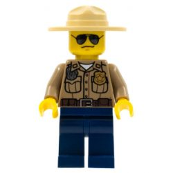Lego figura City Forest Police - Dark Tan Shirt with Pockets, Radio and Gold Badge, Dark Blue Legs, Campaign Hat, Black and Silver Sunglasses