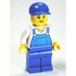 Lego figura City - Overalls Blue over V-Neck Shirt, Blue Legs, Blue Short Bill Cap, Eyelashes and Smile
