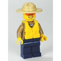 Lego figura City Forest Police - Dark Tan Shirt with Pockets, Radio and Gold Badge, Dark Blue Legs, Campaign Hat, Orange Sunglasses, Life Jacket Center Buckle